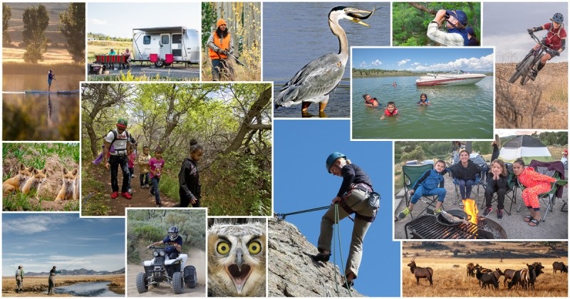 Photo montage of outdoor activities.