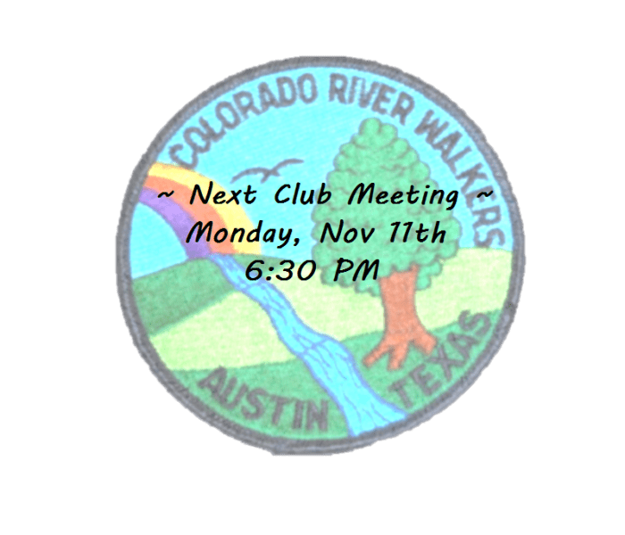 Next CRW Club Meeting is Nov. 11th