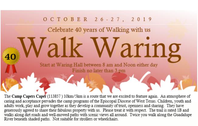 Walk in Waring Oct. 26 & 27