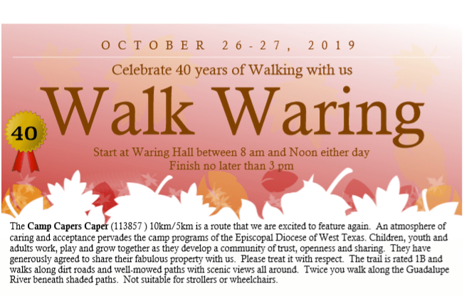 Walk in Waring Oct. 26 & 27