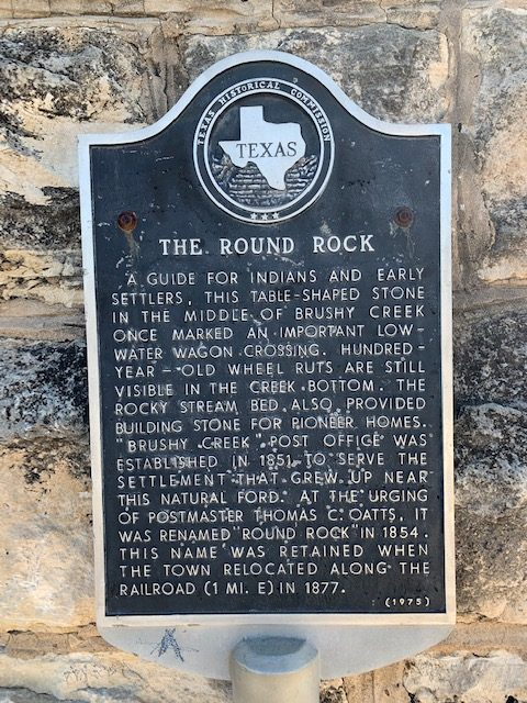 Historical marker for the Round Rock in Brushy Creek.