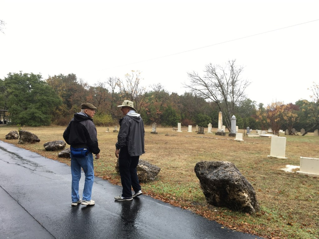 Larry and Doug by the cemetery.