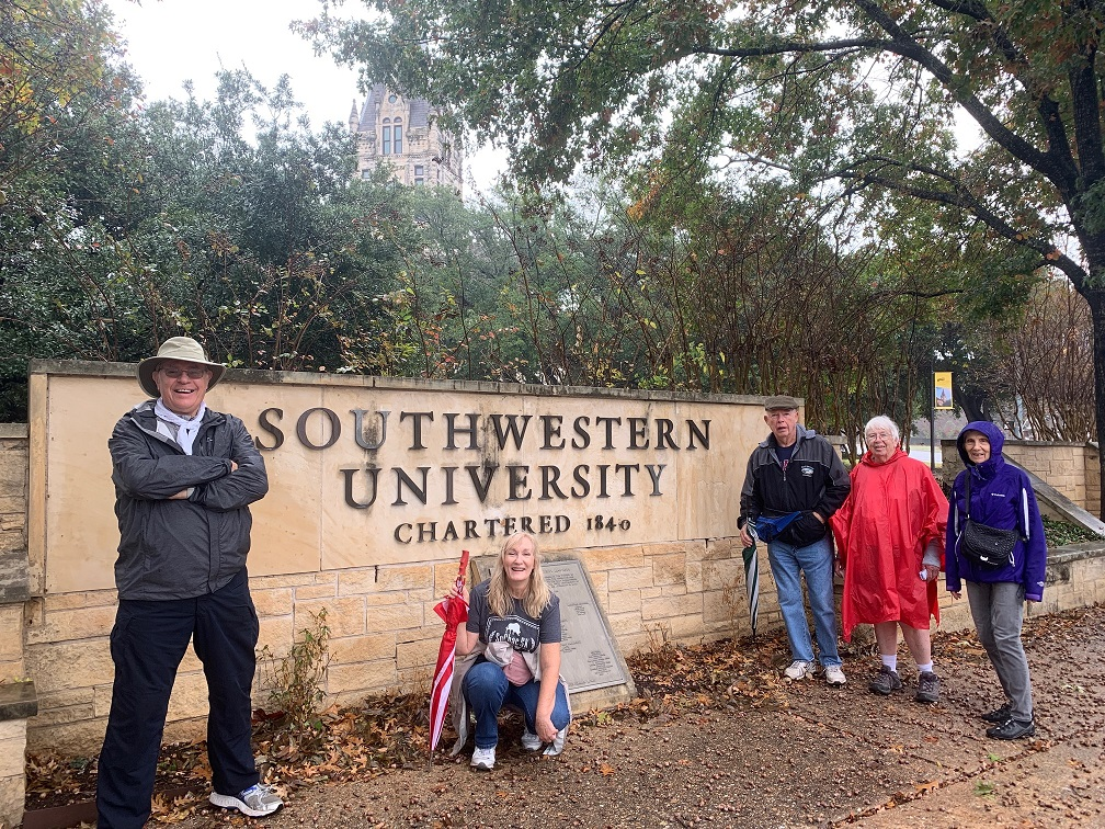 The group by the Southwestern University sign