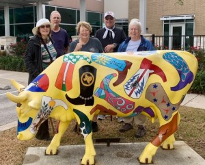CRW members by bull statue on Rathgeber walk route.
