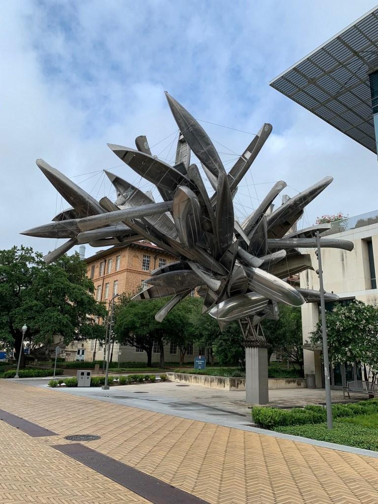 canoe sculpture on UT campus in Austin