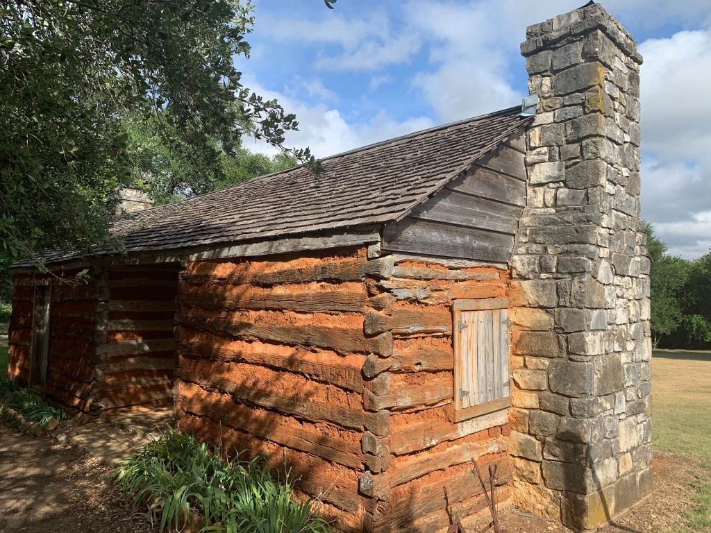 Old Settlers Park, cabin with chimney