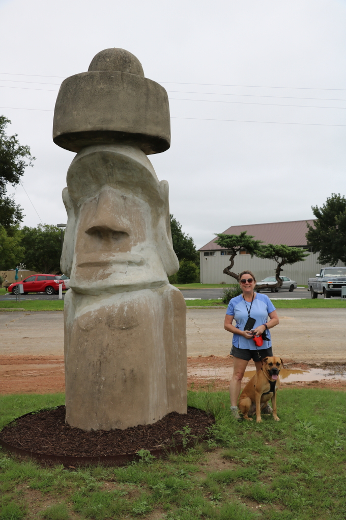 Dee by Easter Island Head replica in Ingram, TX, 2018
