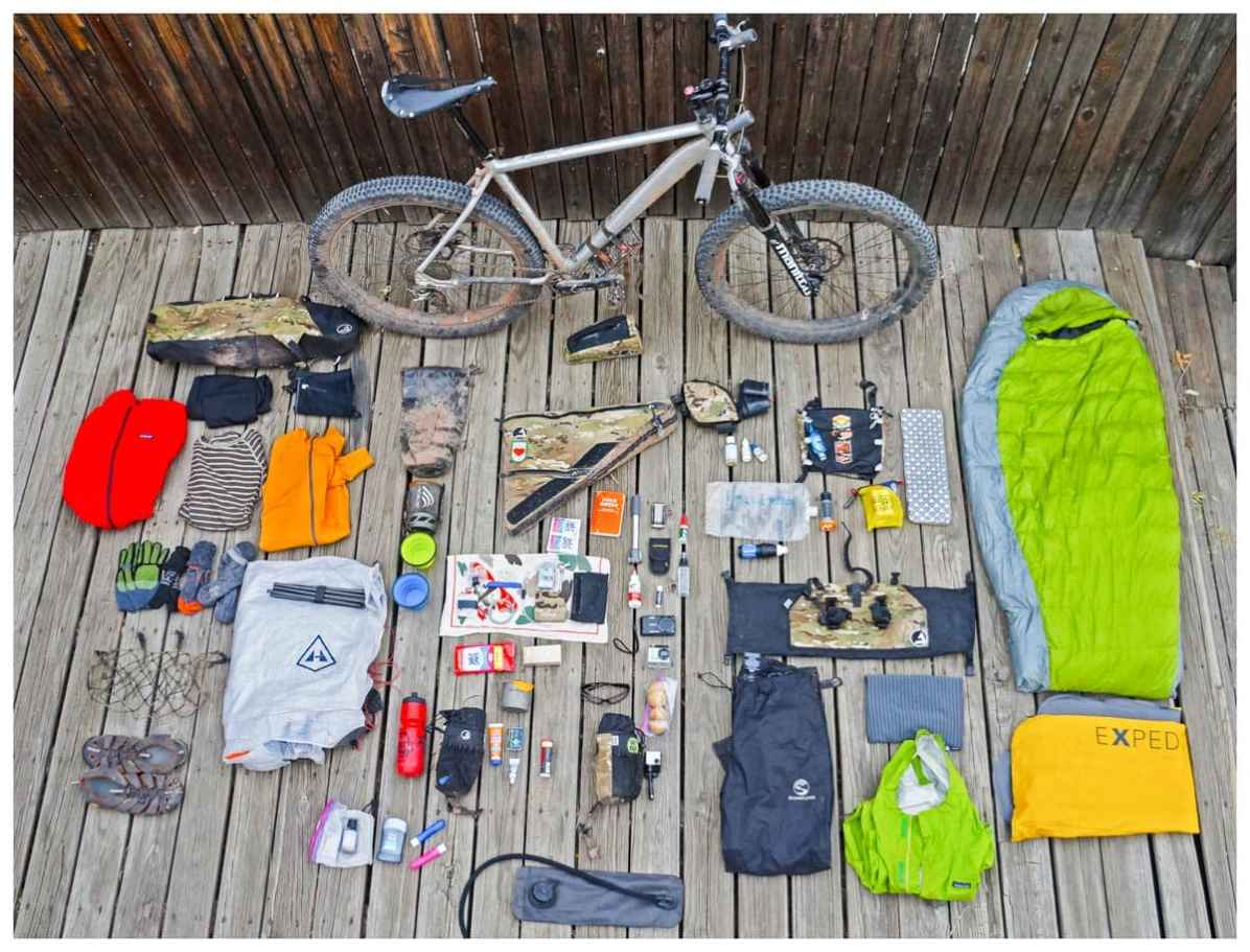 Gear for bike packing trip laid out