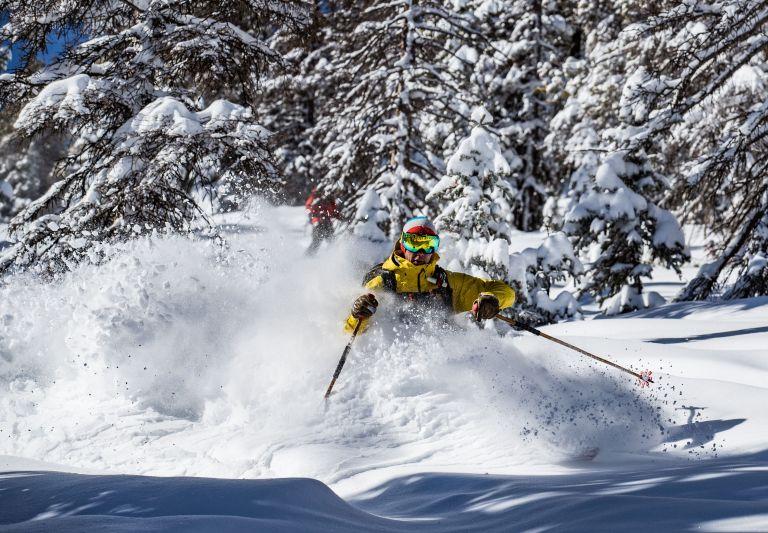 Skier finds powder at Colorado Ski area, Monarch Mountain