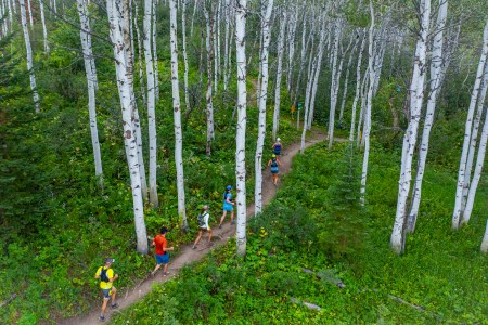 Runners in Aspen Grove at Emerald Mountain Epic