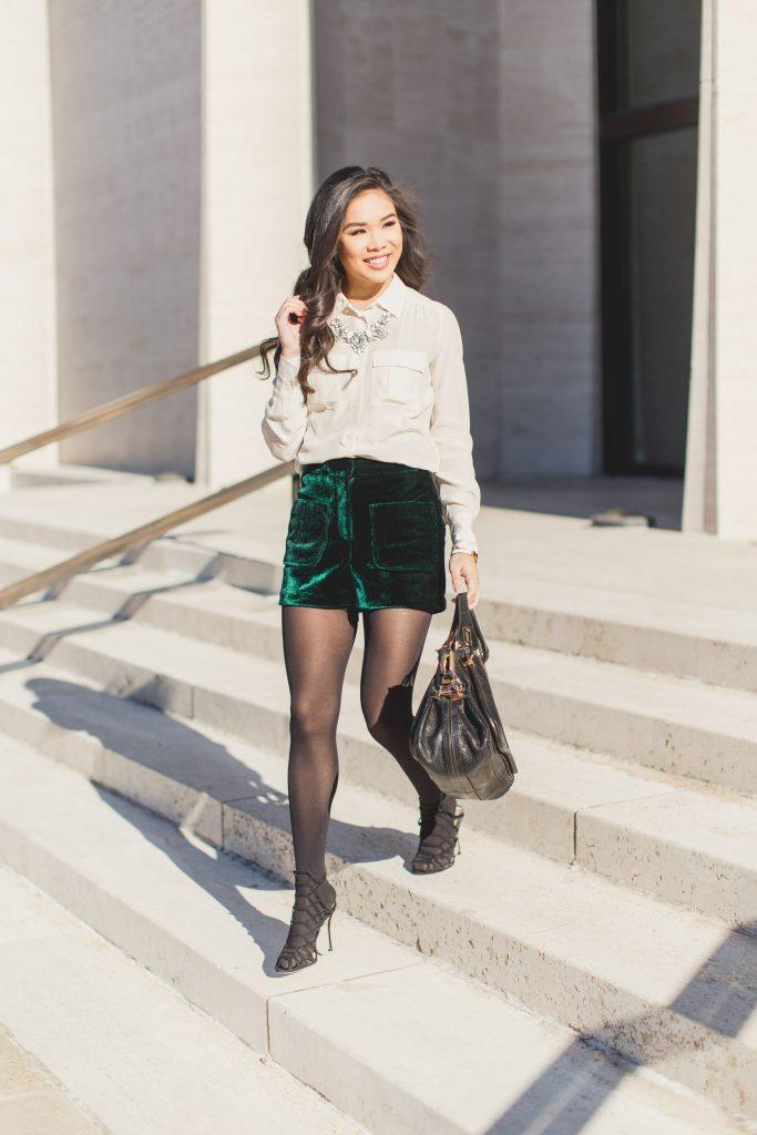 Elegant Textures Velvet Shorts Silk Blouse Color Amp Chic