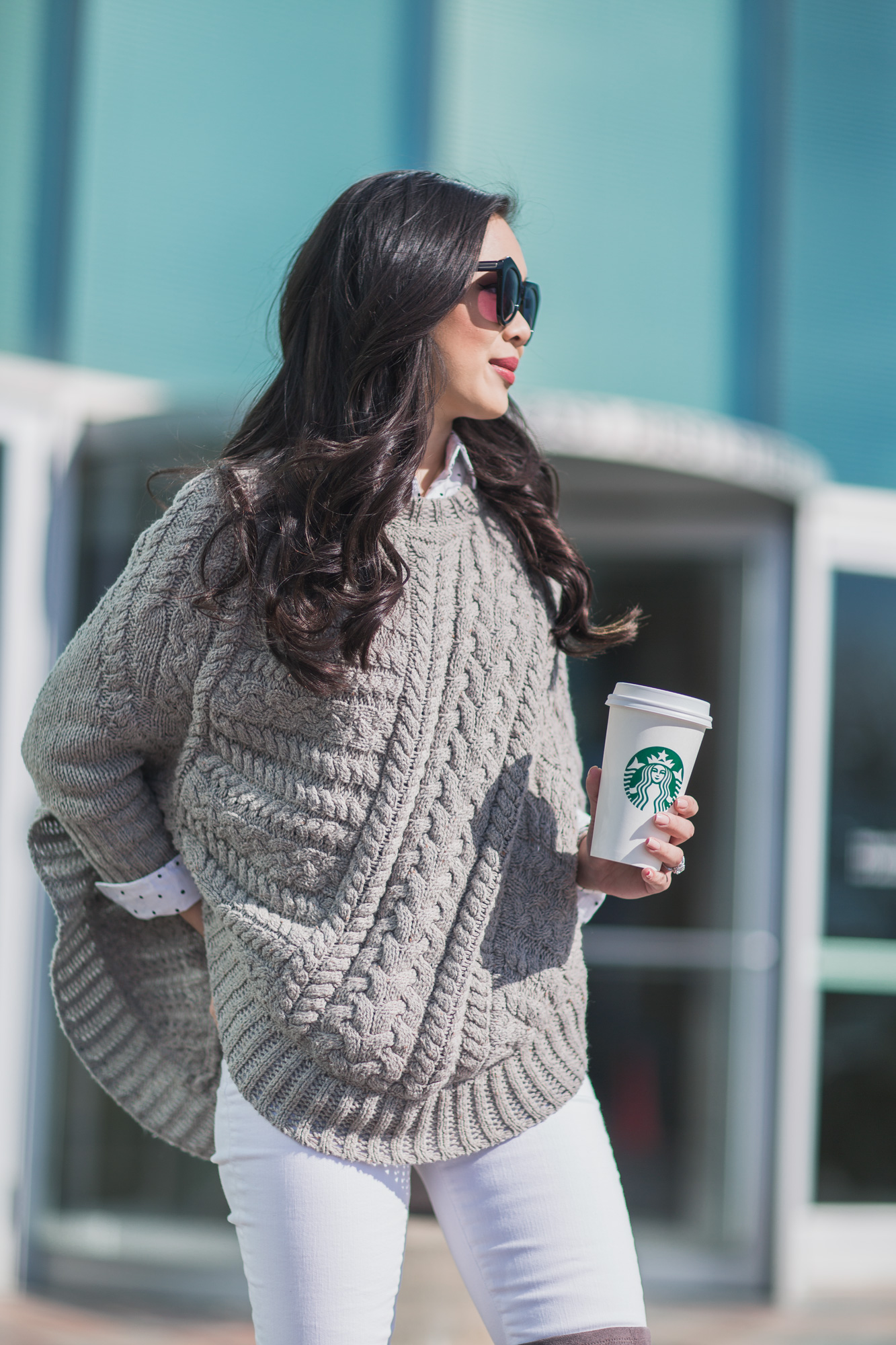 Winter Grays Sweater Poncho Over The Knee Boots