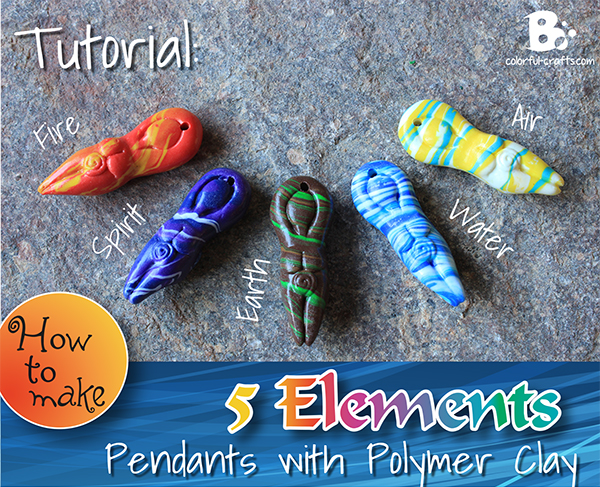 Elements of Nature pendants with polymer clay