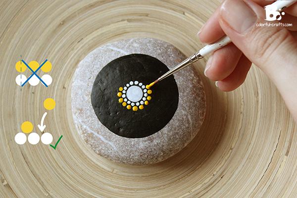 painting a mandala stone tutorial