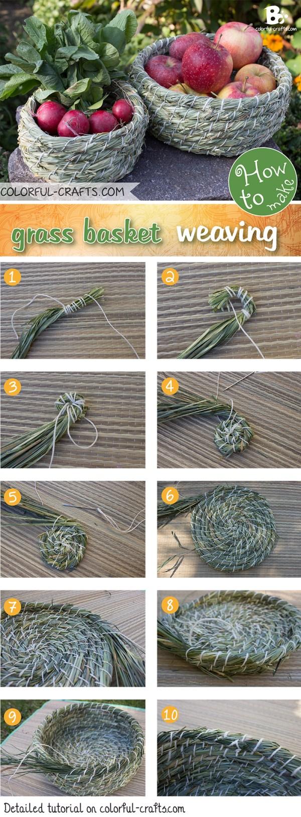 grass basket weaving tutorial // colorful-crafts.com
