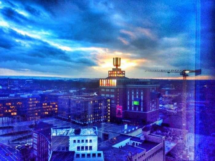 Blick aus dem 16. Stock des Harenberg City Centers auf das Dortmunder U