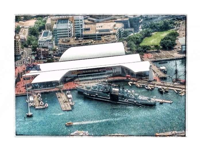Das National Maritime Museum von oben (weißes Gebäude)