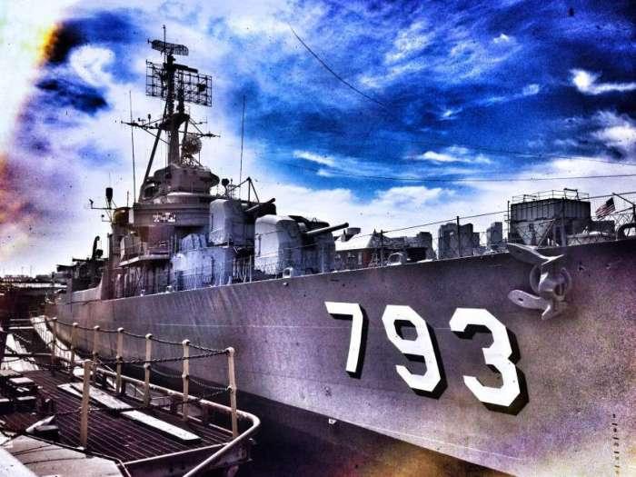 USS Cassin Young auf dem Trockendock der US-Marine in Boston