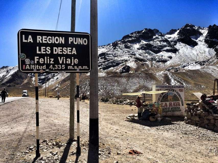 Höchster Punkt auf der Strecke zwischen Cusco und Puno