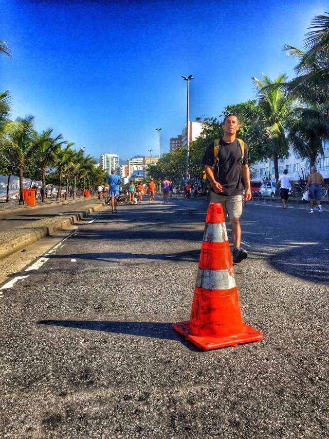 Gesperrte Straße in Ipanema