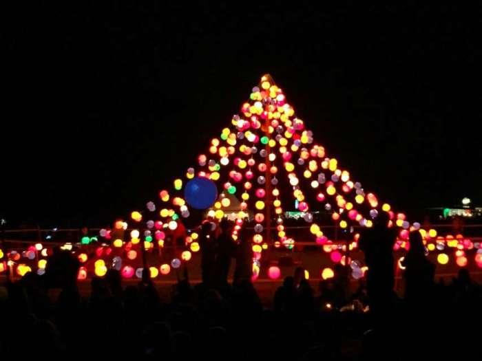 Lichtpyramide beim Lichterfest im Westfalenpark