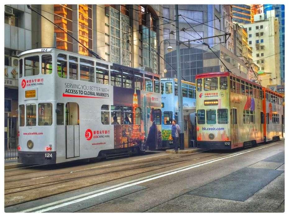 Trams auf Hongkong Island