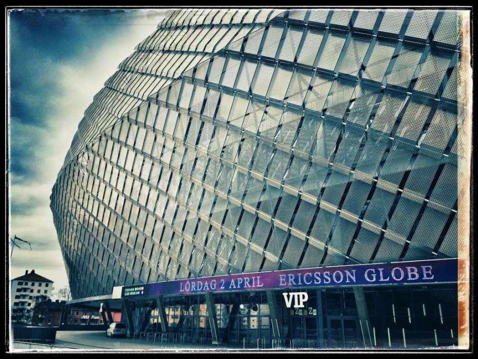 """Die """"Tele 2 - Arena"""" steht direkt neben dem Globen"""
