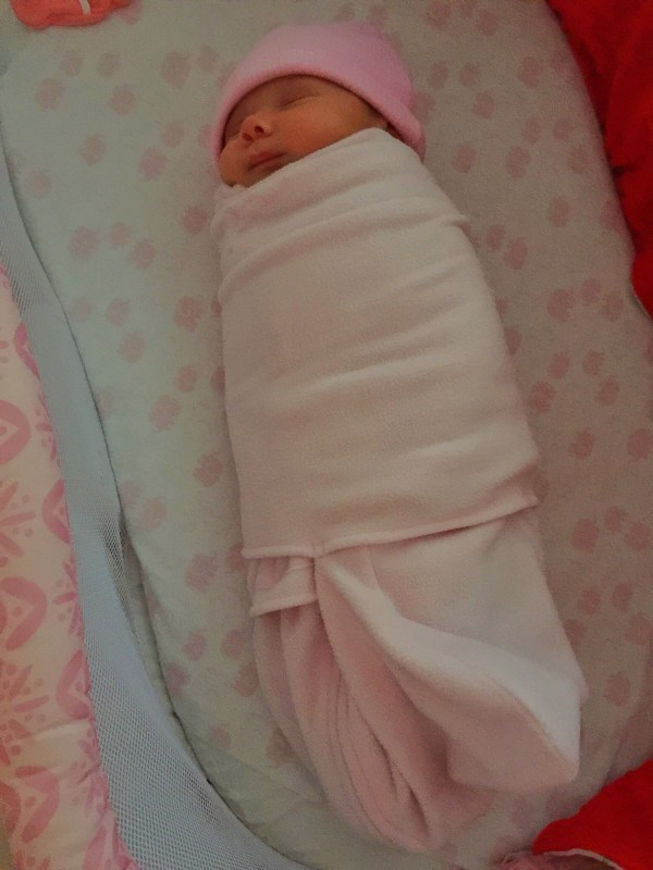 How Alexandra slept until she was 4 months old. She knew it was time to sleep when she was swaddled.