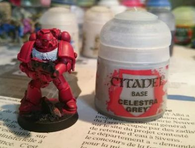 First Blood Angel, early painting stage. Base coats only.