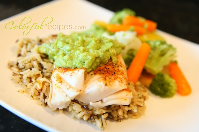 pacific cod fish with avocado sauce