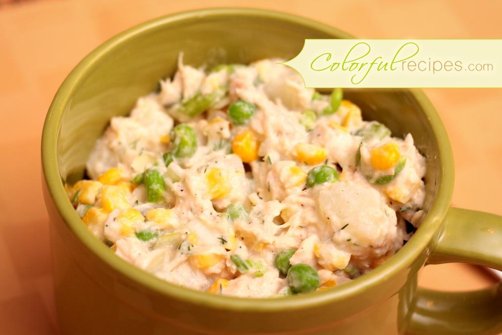 Tuna Potato Salad with Corn and Peas