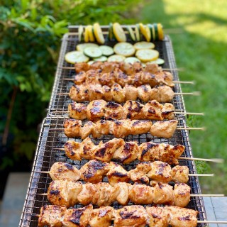 Chicken kebab on an open grill