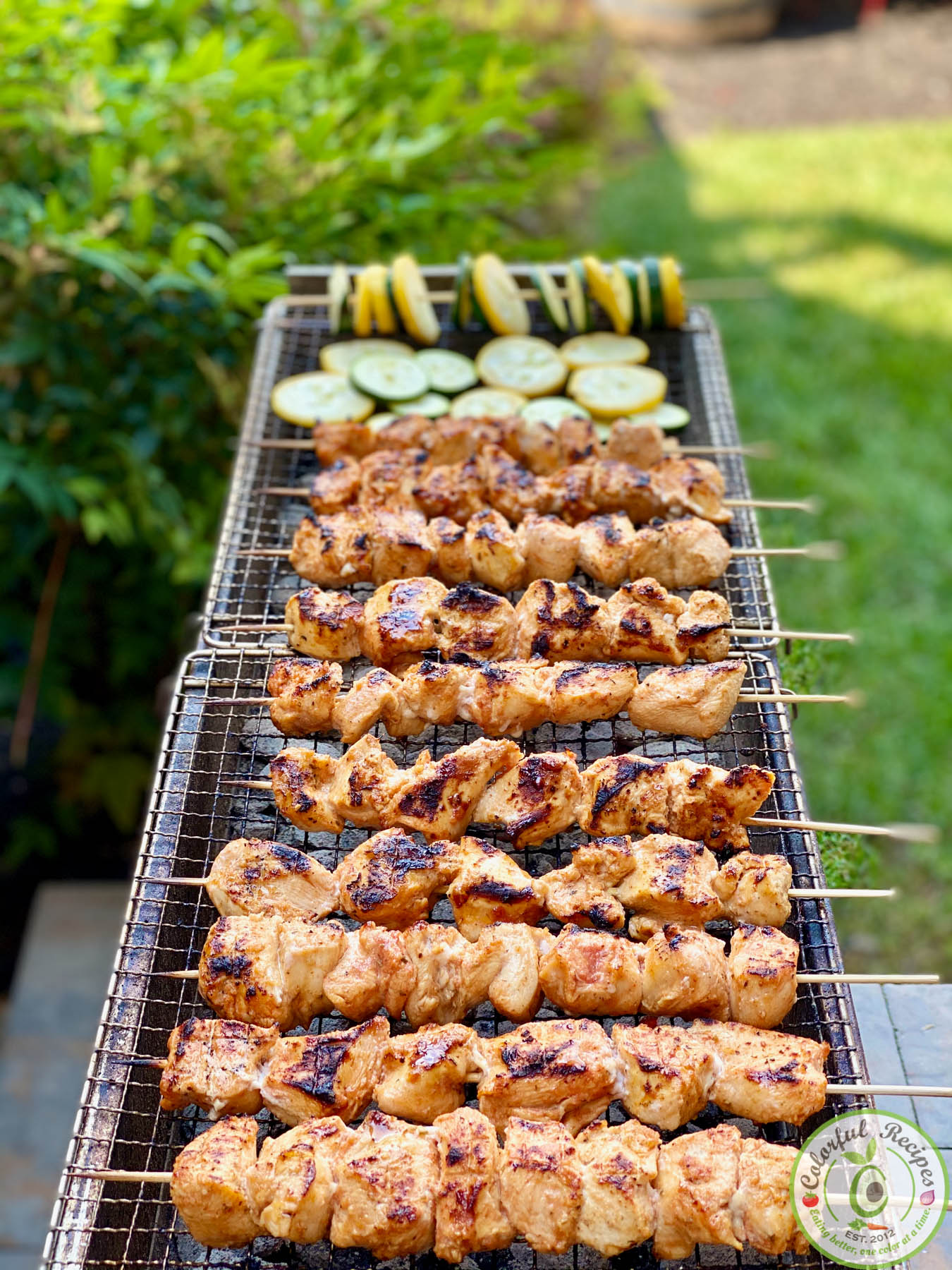 Chicken Kabobs On An Open Grill Colorful Recipes
