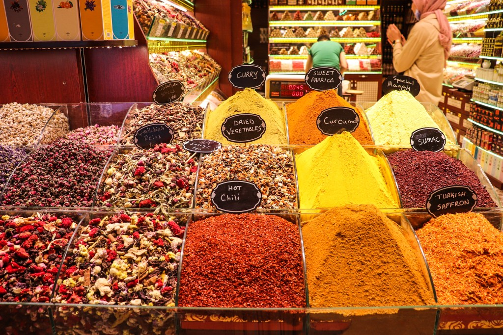 Colorful Spices at the Spice Market in Istanbul