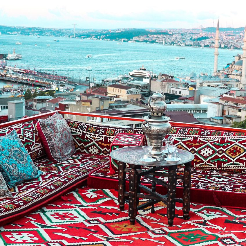 Turkish Tea Istanbul Rooftop Terrace Sunset - Nova Santiye Cafe