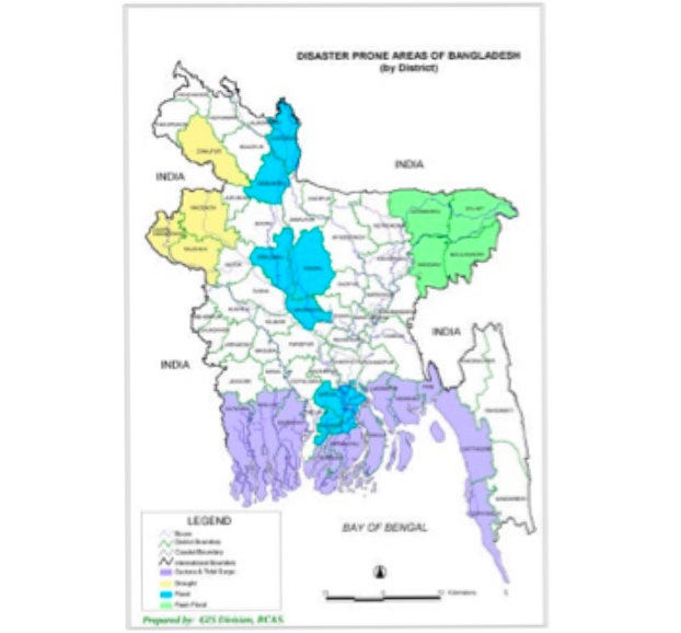 Bangladesh is most vulnerable to several natural disasters and every year natural calamities upset people's lives in some part of the country. The major disasters concerned here are the occurrences of flood, cyclone and storm surge, flash flood, drought, tornado, riverbank erosion, and landslide. These extre