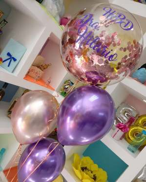 arreglos de globos chrome bubble helio