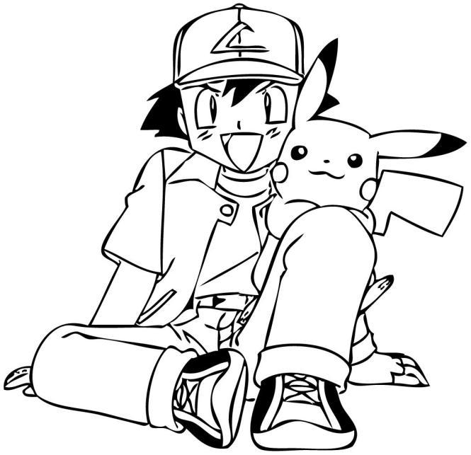 Coloriage à Imprimer Pokemon Sacha - Coloriage Imprimer