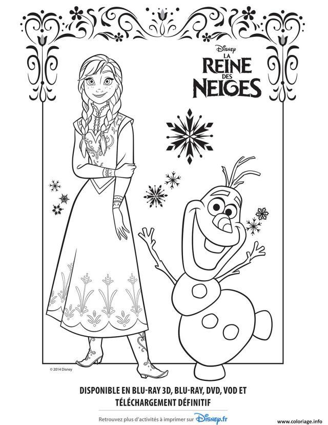 Coloriage Anna Olaf Reine Des Neiges Disney Frozen Dessin La Reine
