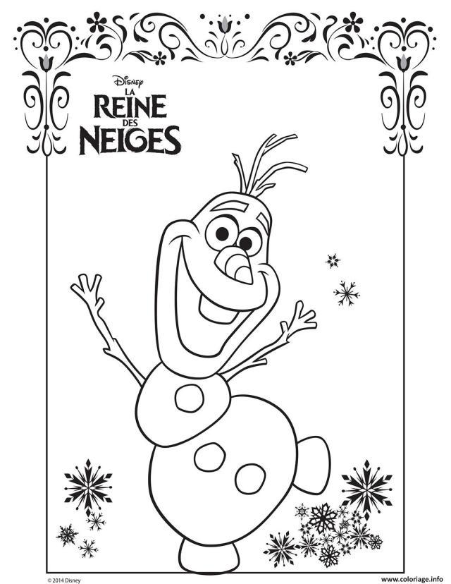 Coloriage Olaf La Reine Des Neiges Disney Frozen Dessin La Reine