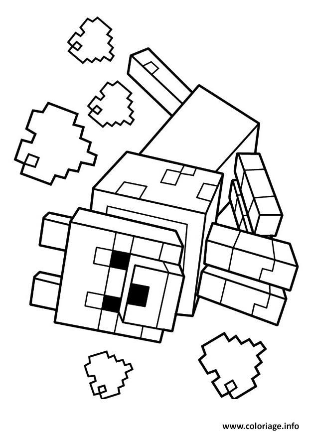 Coloriage Minecraft Le Loup 1