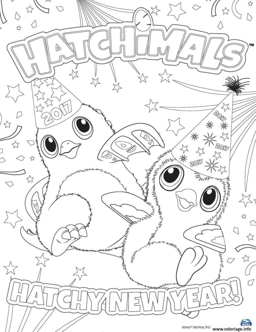 coloriage hatchimals nouvel an  hatchy  jecolorie