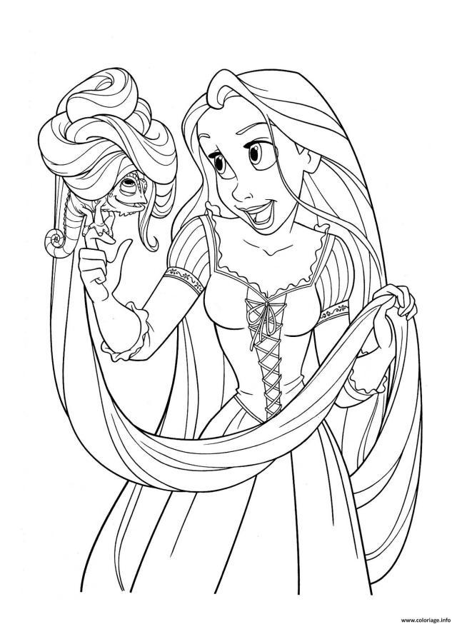 Coloriage Raiponce Princesse Disney Avec Pascal Dessin Raiponce à