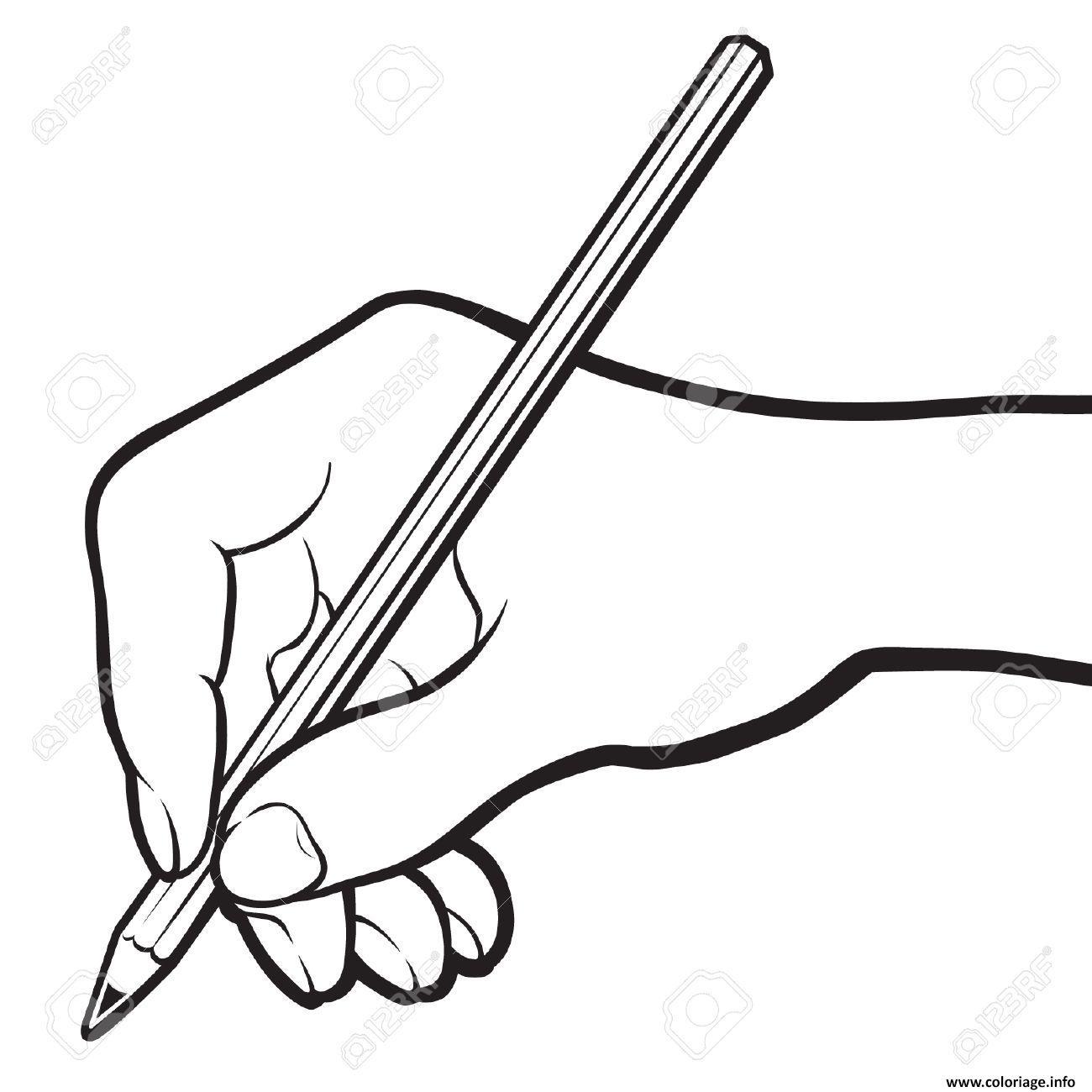 Coloriage Main Avec Un Crayon