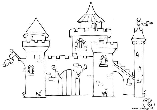 Coloriage Chateau Dessin Chateau à imprimer