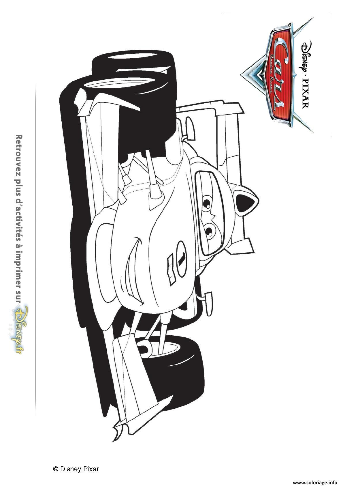 Coloriage Francesco Bernoulli Au Grand Prix Mondial Cars