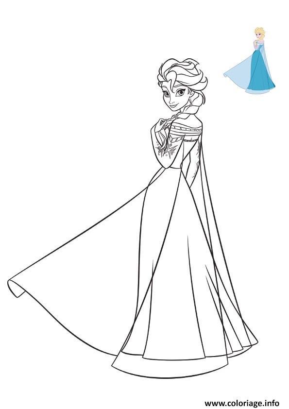 Coloriage La Belle Robe Bleue De Elsa Reine Des Neiges