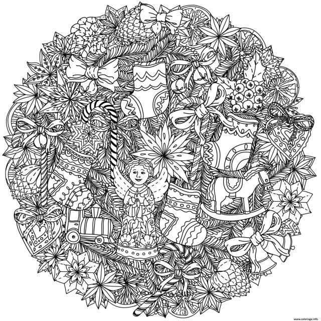 Coloriage Adulte Mandala Noel Complexe Dessin Noel Adulte à imprimer