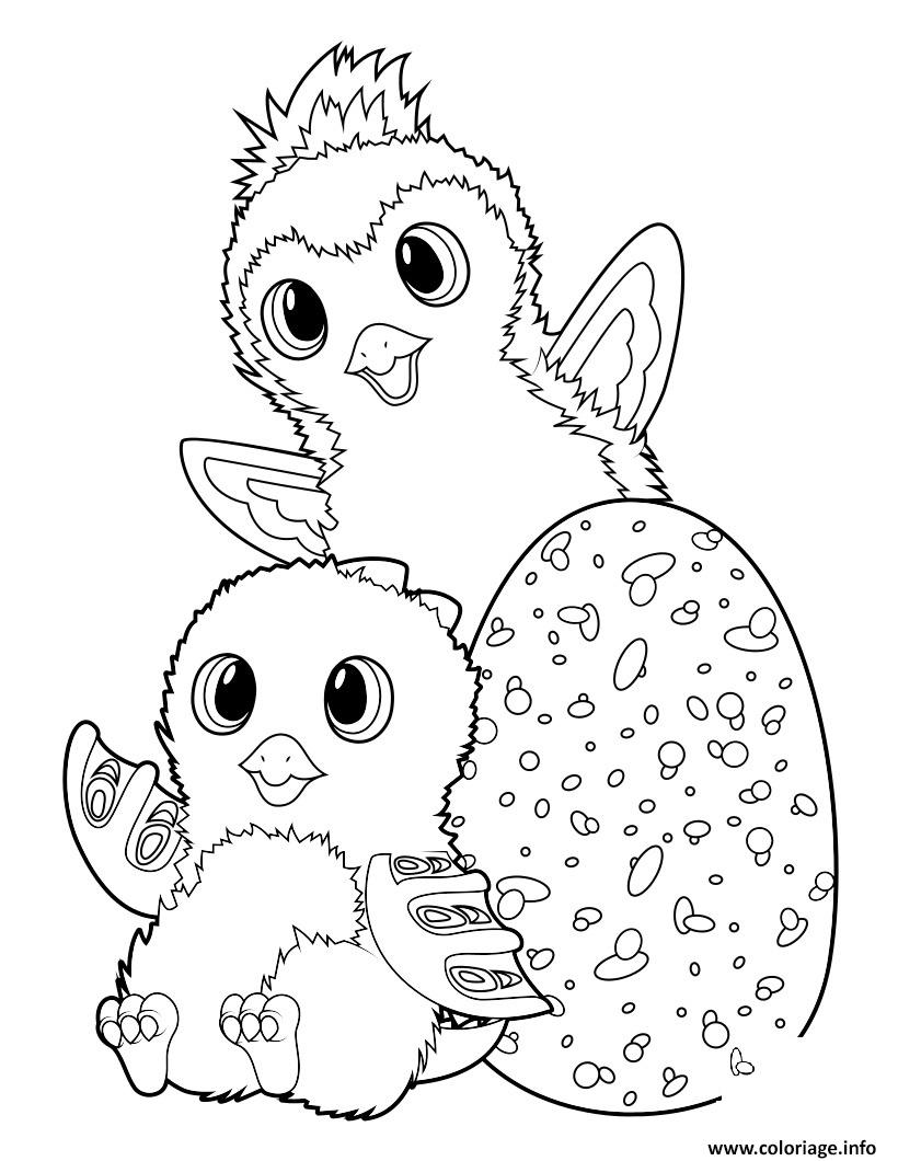 coloriage hatchimals draggle and penguala  jecolorie