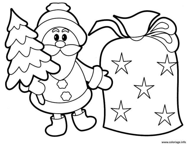Coloriage pere noel avec un sapin et sac de cadeaux - JeColorie.com